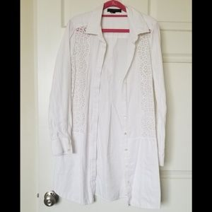 BCBG long white long-sleeve shirt with lace detail